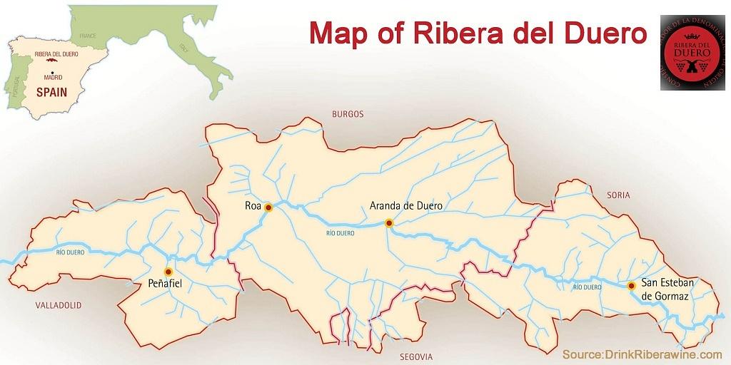 Mapa de Ribera del Duero, Espanha
