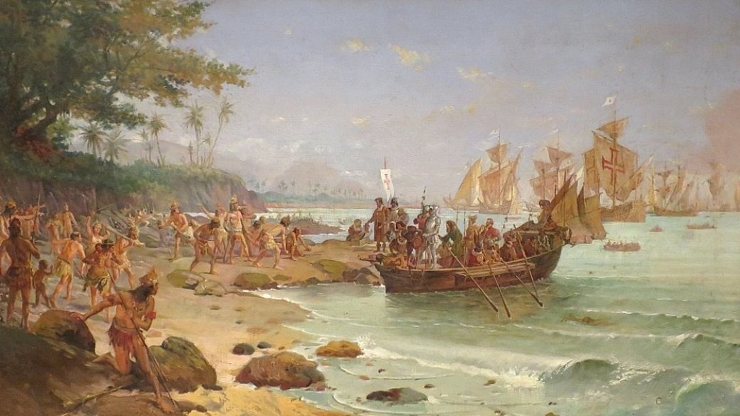 Desembarque de Cabral no Brasil em 1500 - Oscar Pereira da Silva - Viva o Vinho